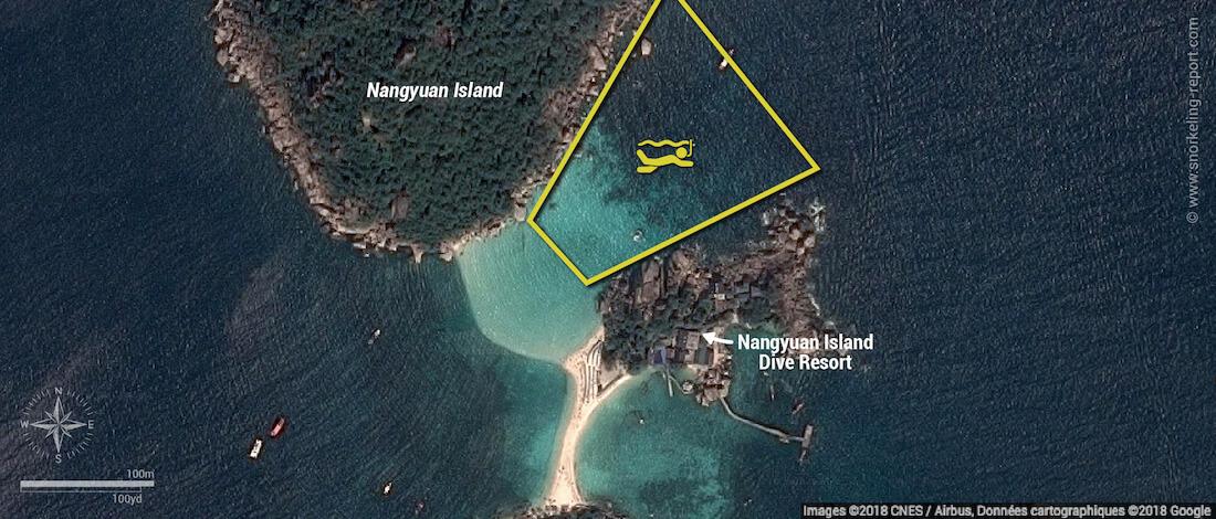 Koh Nang Yuan snorkeling map, Koh Tao