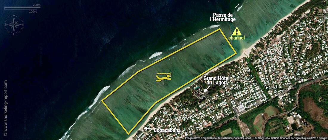 Lagon de la Saline snorkeling map