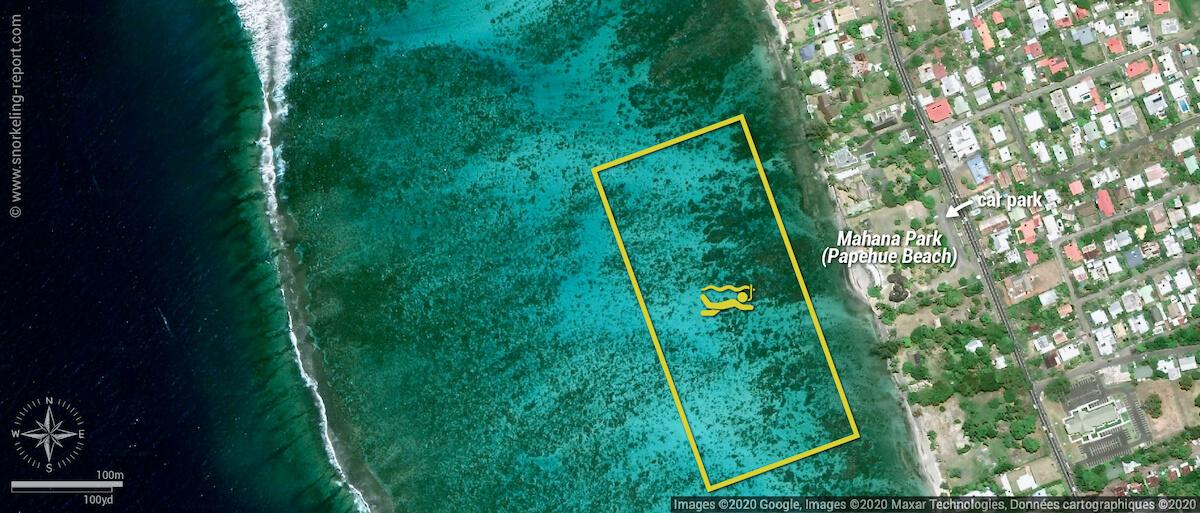 Mahana Park (Papehue Beach) snorkeling map