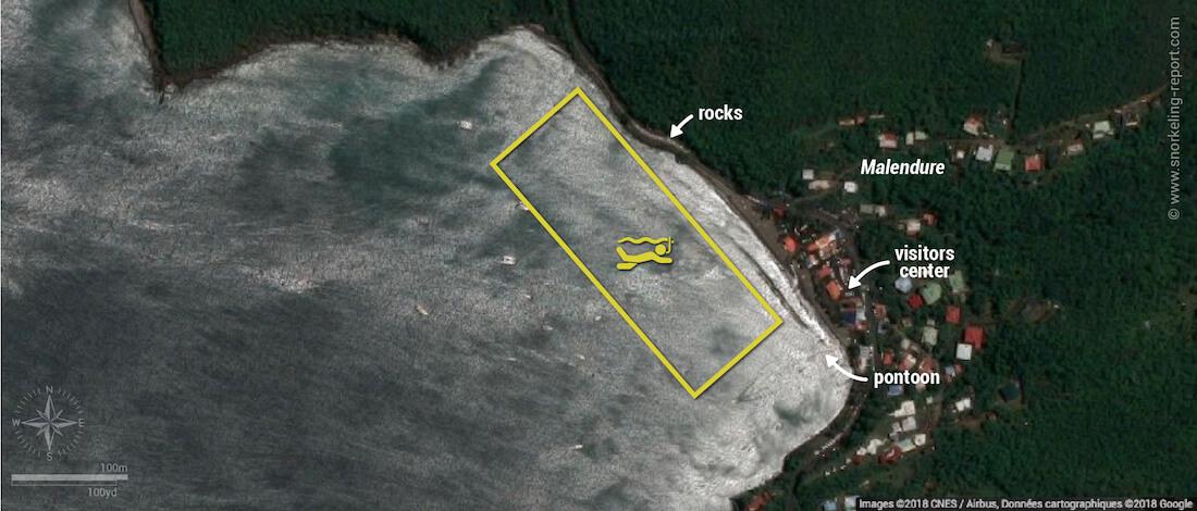 Malendure snorkeling map, Guadeloupe