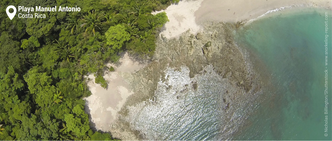 Aerial view of Playa Manuel Antonio snorkeling area