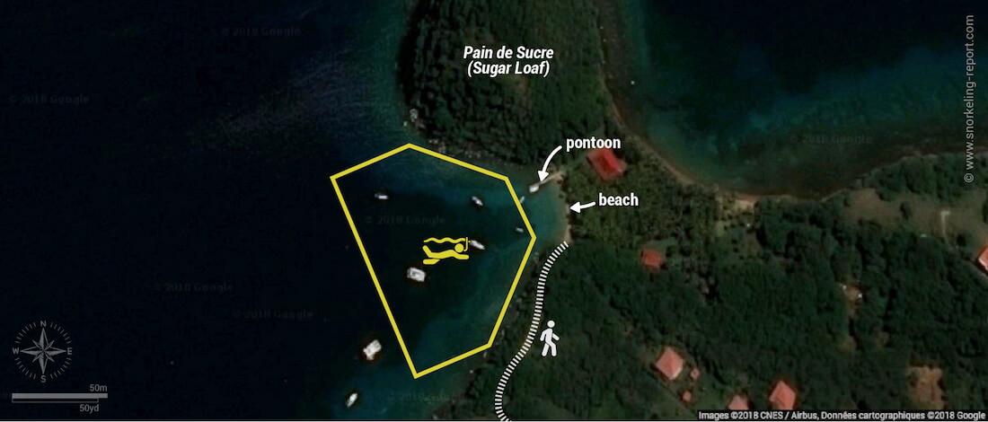 Pain de Sucre Beach snorkeling map, Guadeloupe