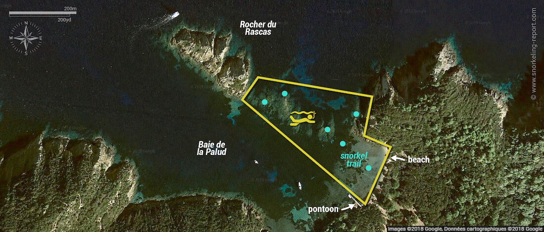Plage de la Palud snorkeling map, Port Cros National Park