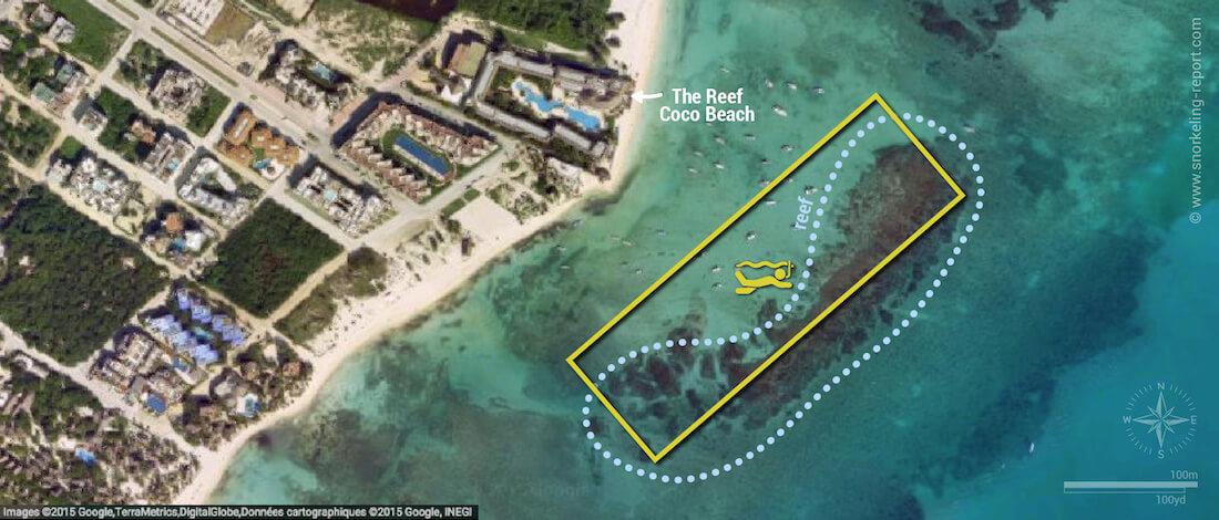 Playa del Carmen snorkeling map, Mexico