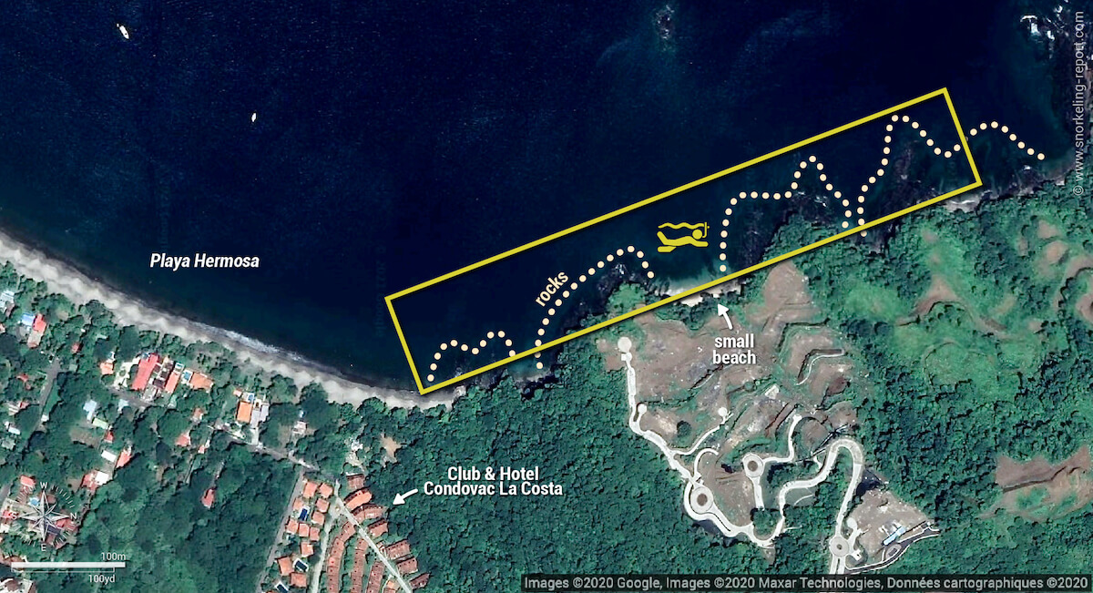 Playa Hermosa snorkeling map