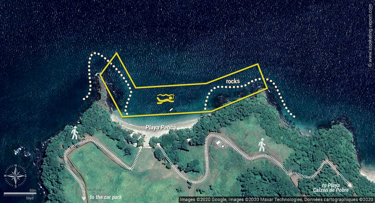 Playa Penca snorkeling map