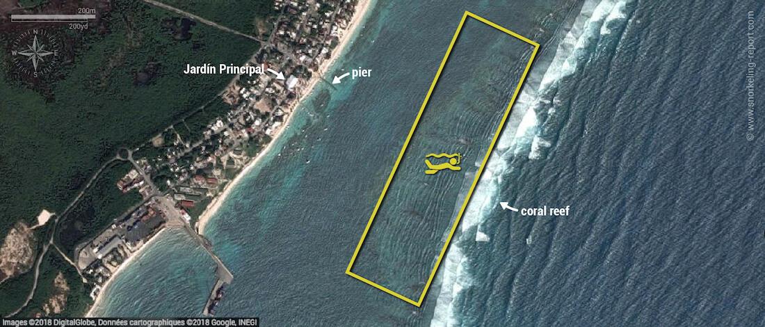 Puerto Morelos snorkeling map, Mexico
