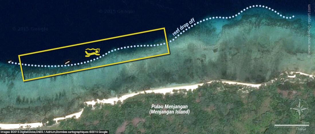 Menjangan Island snorkeling map, Bali