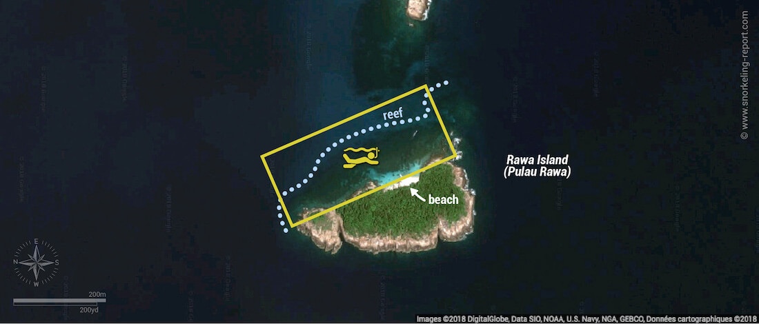 Rawa Island snorkeling map, Perenthian Islands