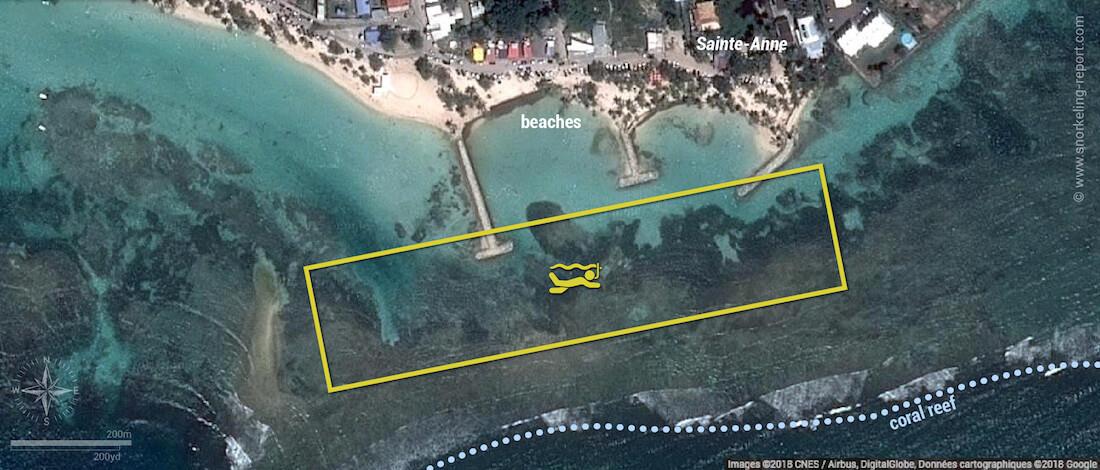 Sainte-Anne Beach snorkeling map, Guadeloupe