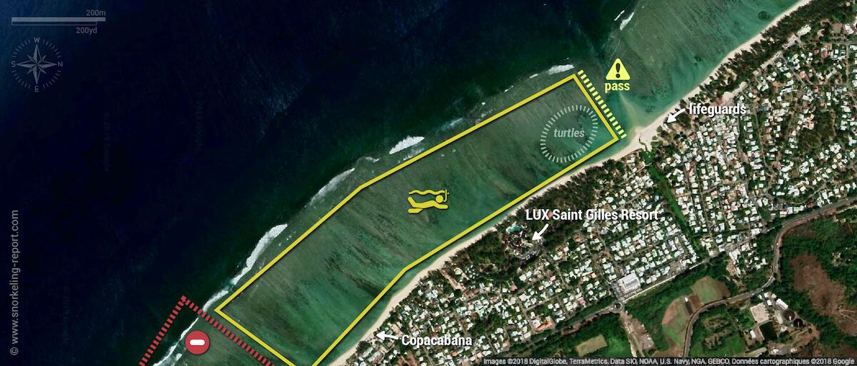Lagon de la Saline snorkeling map, Reunion Island