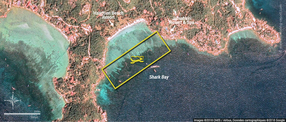 Shark Bay snorkeling map, Koh Tao