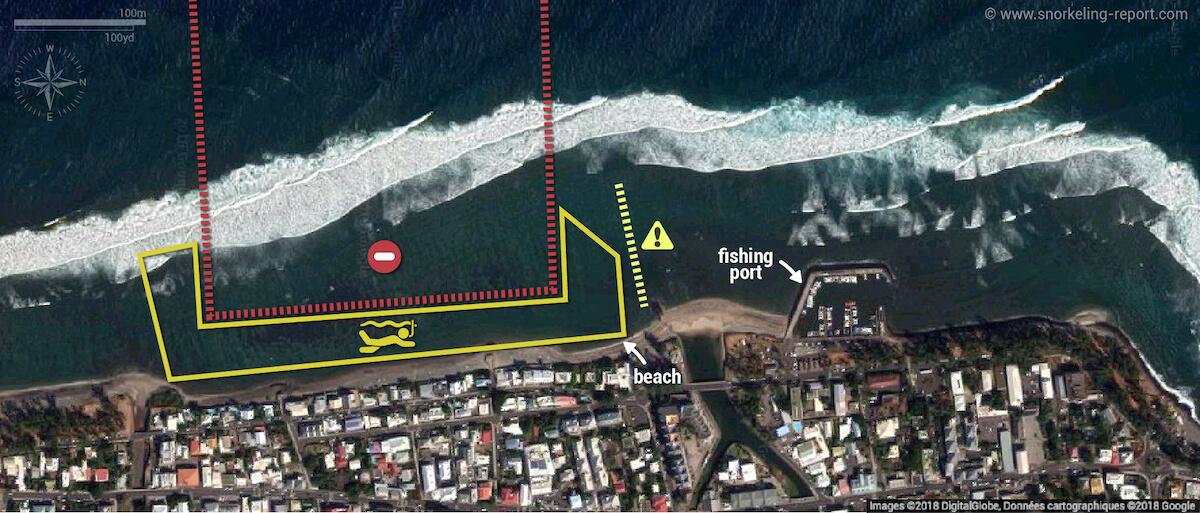 Saint Leu Beach Reunion Island snorkeling map