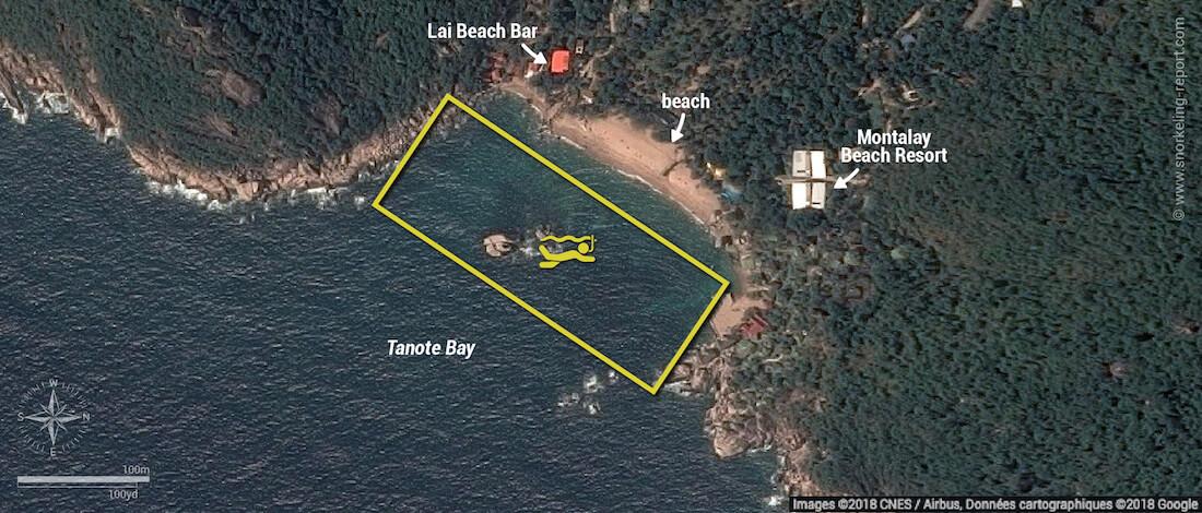 Tanote Bay snorkeling map, Koh Tao