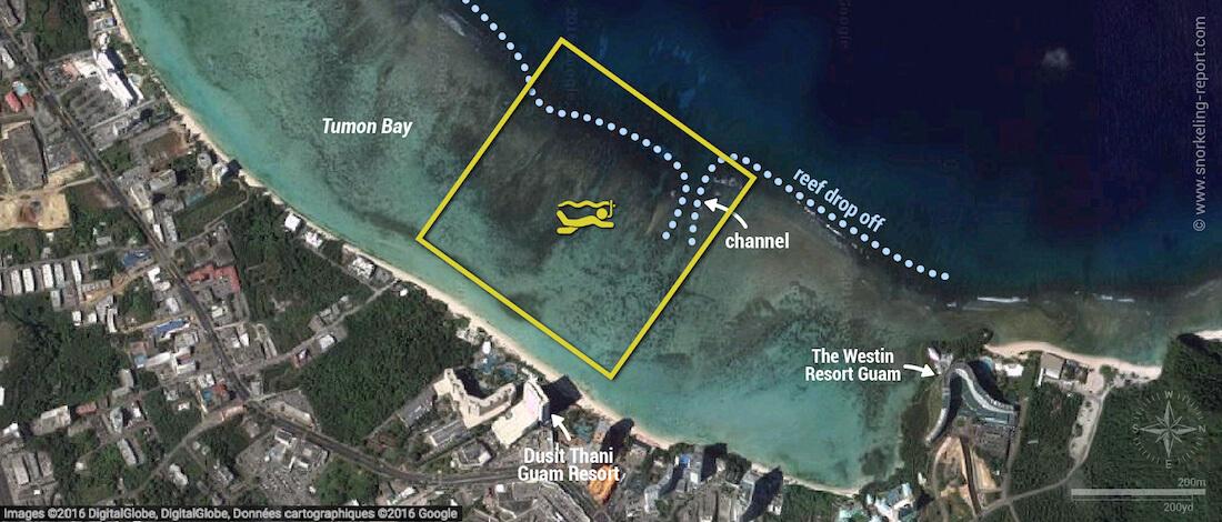 Tumon Bay snorkeling map, Guam