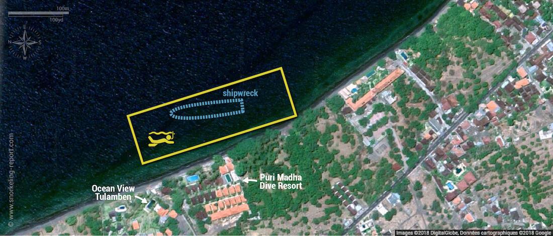 USS Liberty Wreck snorkeling map, Bali