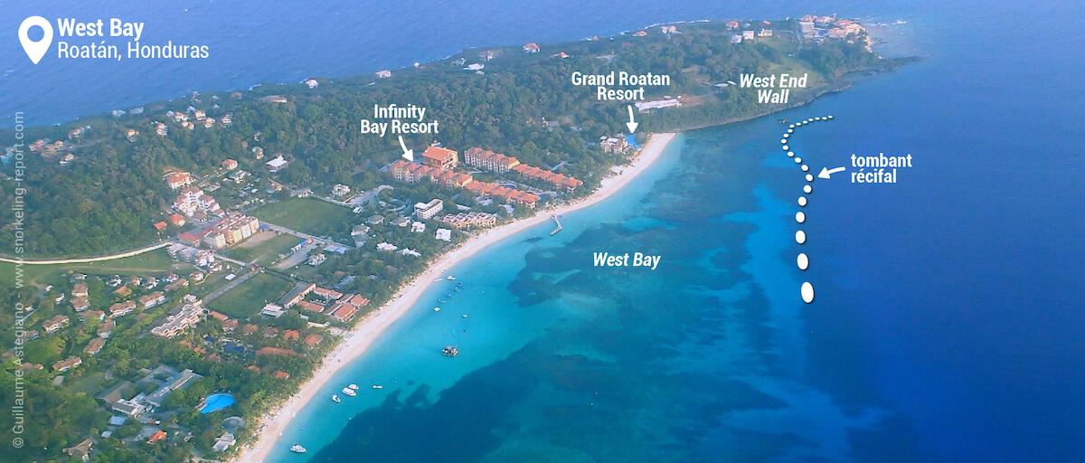 Vue aérienne du spot de snorkeling de West Bay
