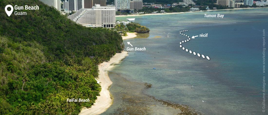 Vue sur le récif de Gun Beach, Guam