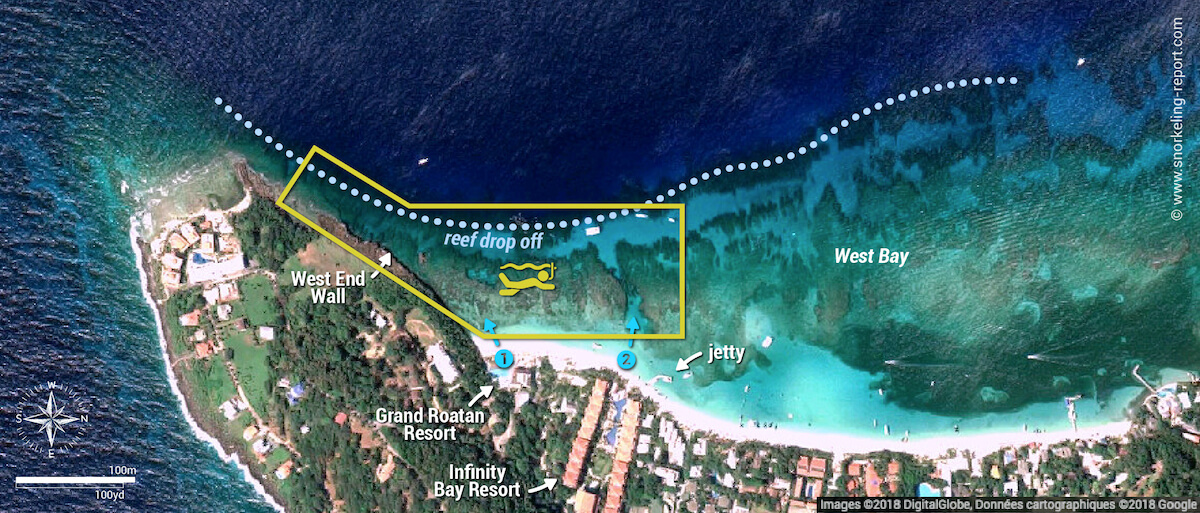 West Bay snorkeling map, Roatan