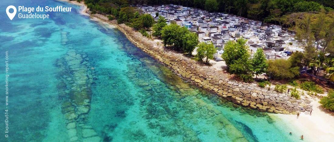 Plage du Souffleur aerial view, Guadeloupe snorkeling