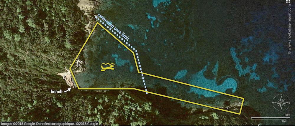 Anse de la Fausse Monnaie snorkeling map, Port Cros National Park
