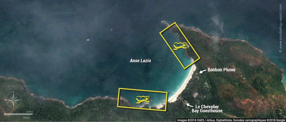 Anse Lazio snorkeling map, Praslin, Seychelles