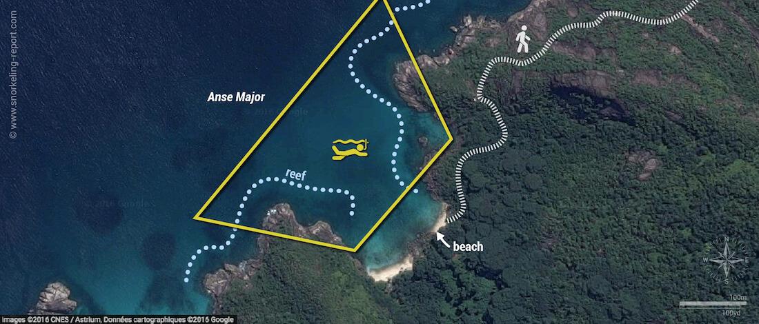 Anse Major snorkeling map, Mahe, Seychelles