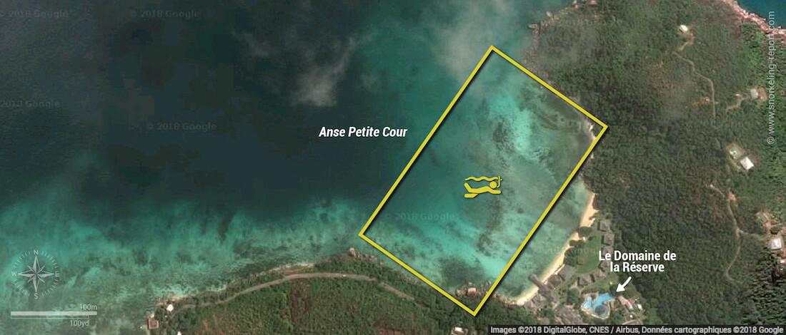 Anse Petite Cour snorkeling map, Praslin, Seychelles