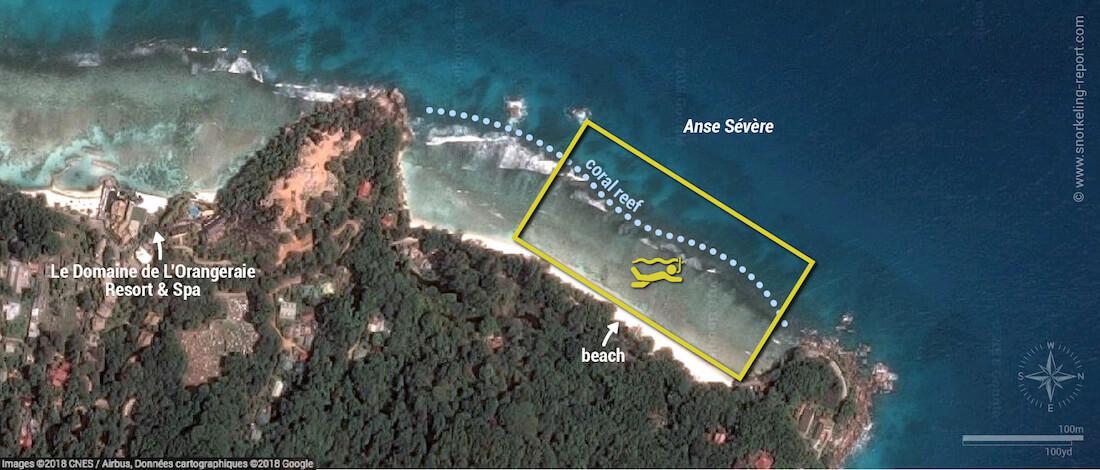 Anse Sévère snorkeling map, La Digue, Seychelles