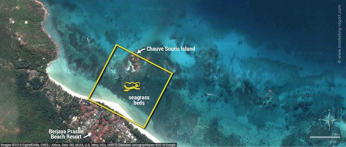 Anse Volbert snorkeling map, Praslin, Seychelles