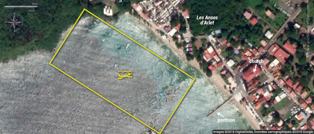 Anses d'Arlet snorkeling map, Martinique