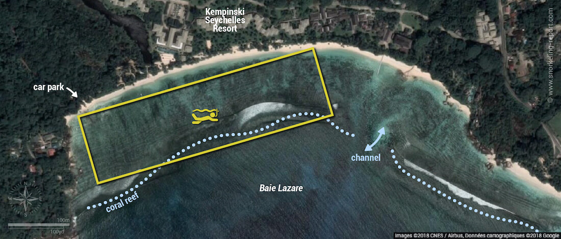 Baie Lazare snorkeling map, Mahe, Seychelles