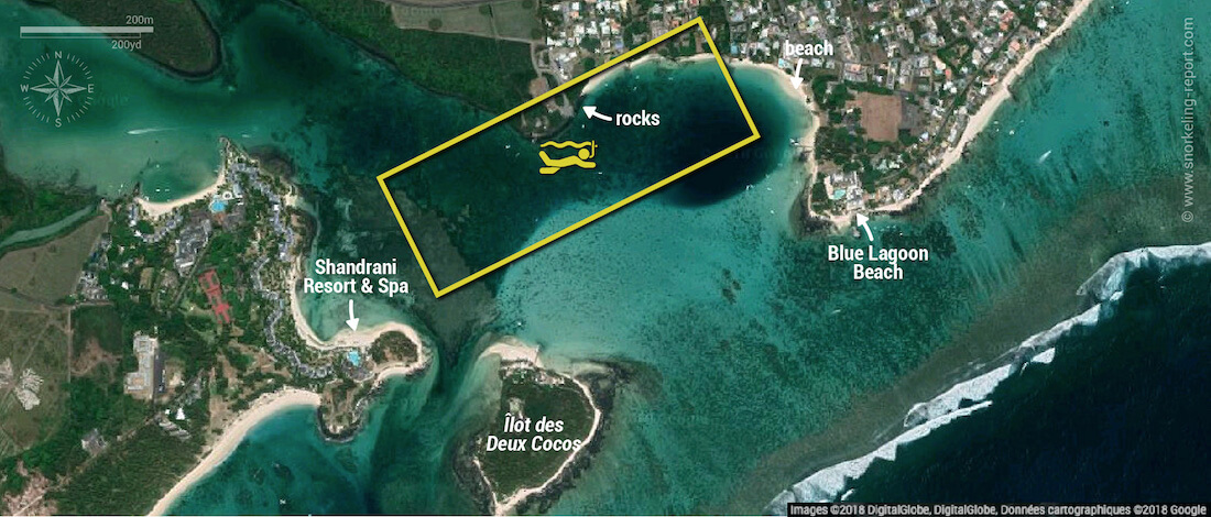 Blue Bay snorkeling map, Mauritius
