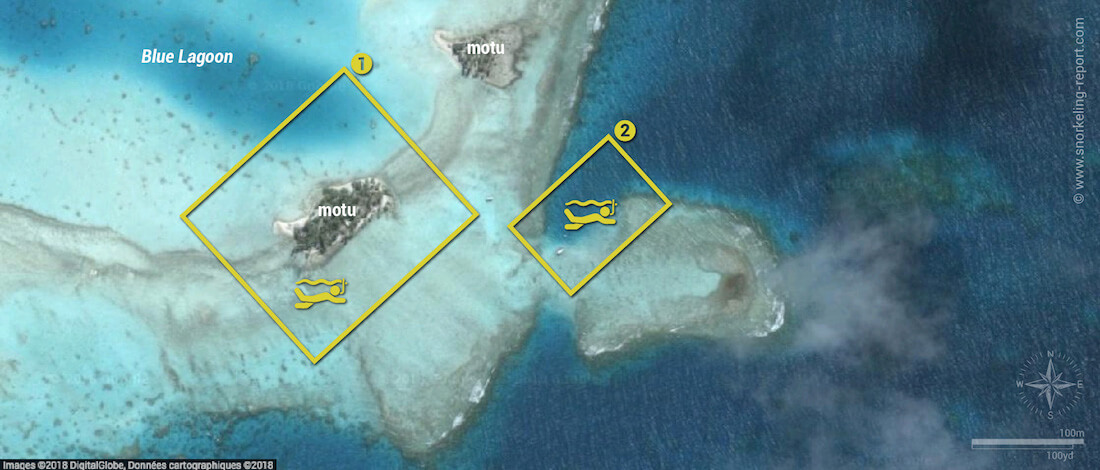 The Blue Lagoon snorkeling map, Rangiroa