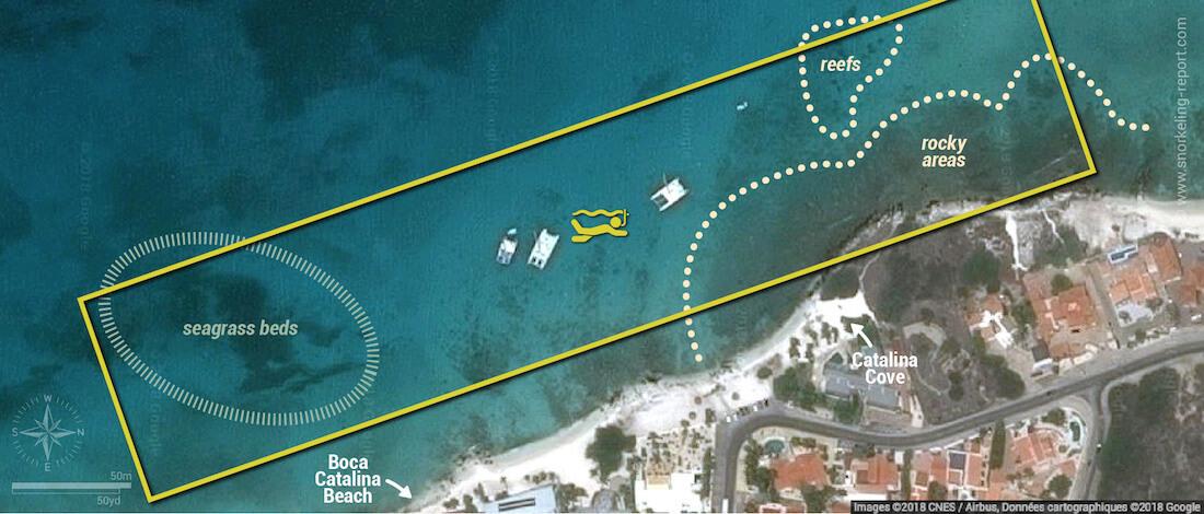 Boca Catalina snorkeling map, Aruba