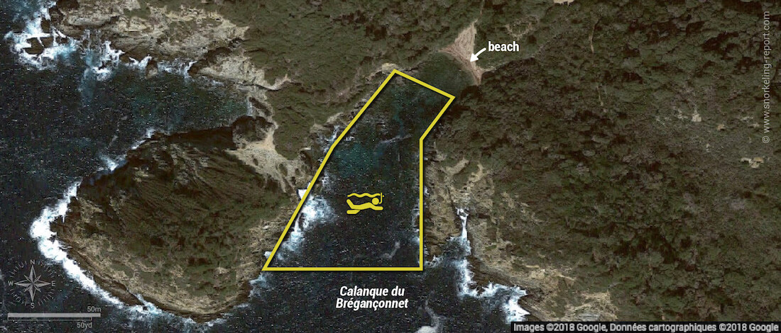 Calanque du Brégançonnet snorkeling map, Porquerolles