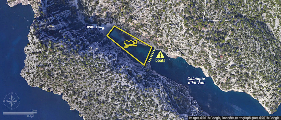 Calanque d'En Vau snorkeling map, Calanques National Park