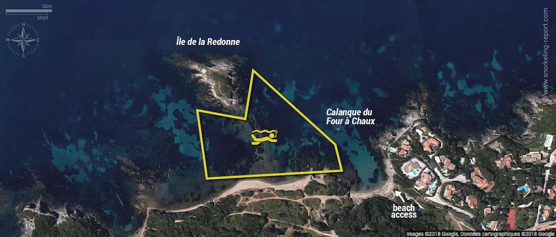 Calanque du Four à Chaux snorkeling map, Hyères, France