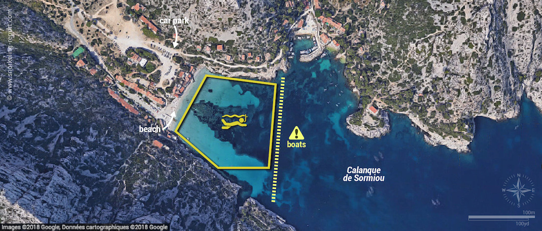 Calanque de Sormiou snorkeling map, Calanques National Park