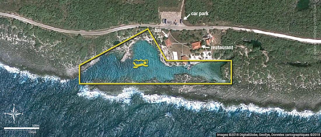 Caleta Buena snorkeling map, Cuba