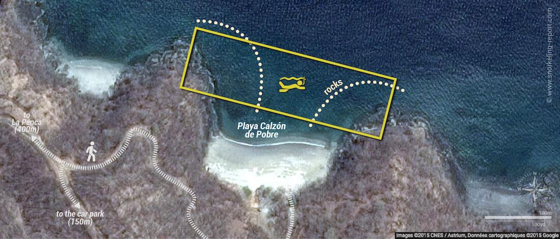 Calzon de Pobre snorkeling map, Guanacaste, Costa Rica