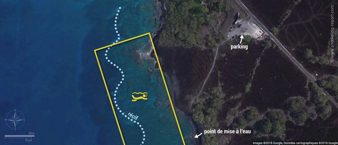 Carte snorkeling à Ahihi Kinau, Maui, Hawaï