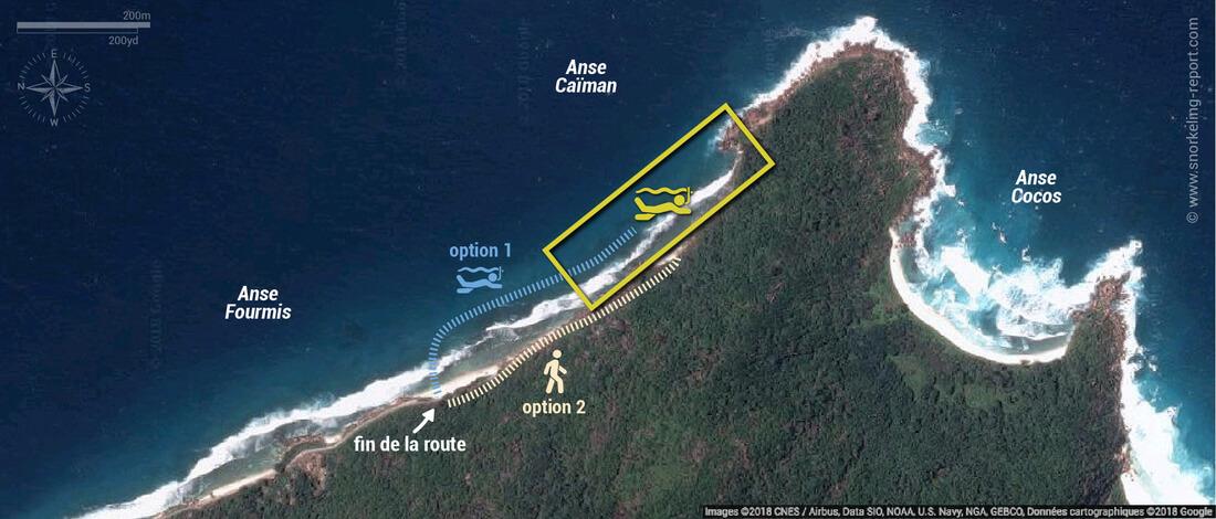 Carte snorkeling à l'Anse Caïman, La Digue, Seychelles