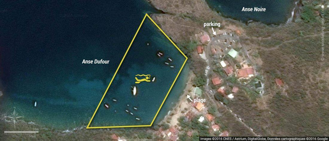 Carte snorkeling à l'Anse Dufour, Martinique