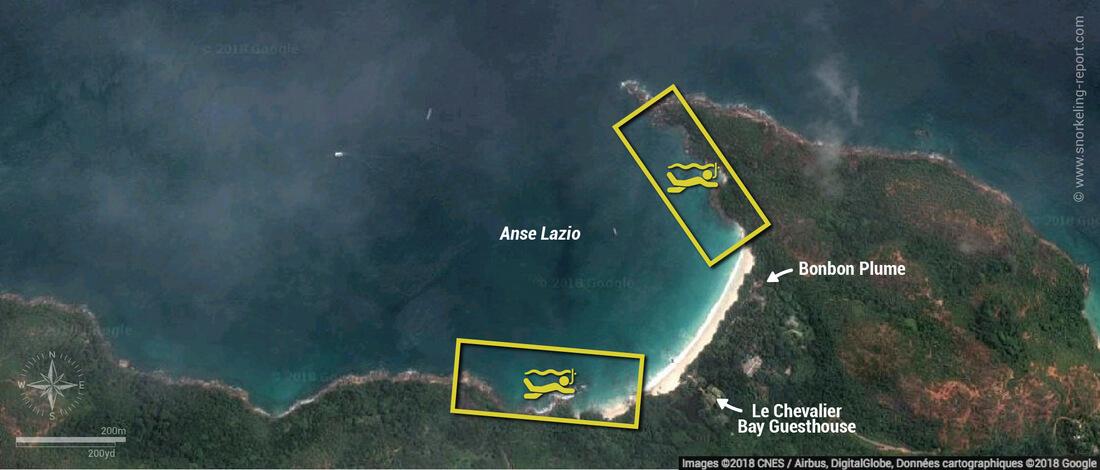 Carte snorkeling à l'Anse Lazio, Praslin, Seychelles
