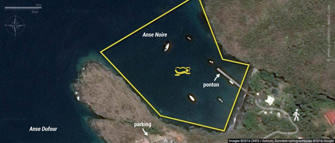 Carte snorkeling à l'Anse Noire, Martinique