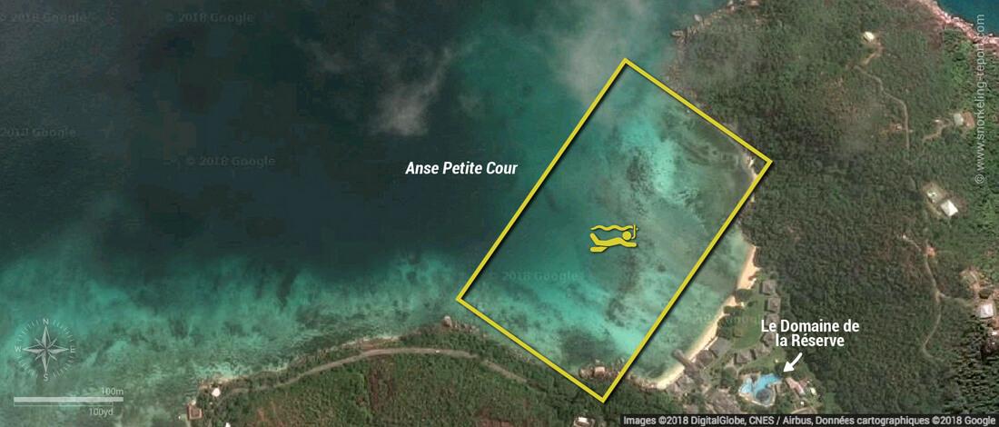 Carte snorkeling à l'Anse Petite Cour, Praslin, Seychelles