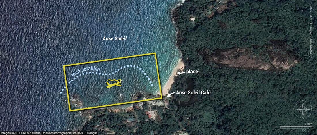 Carte snorkeling à l'Anse Soleil, Mahé, Seychelles