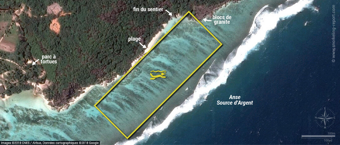 Carte snorkeling à l'Anse Source d'Argent, La Digue, Seychelles