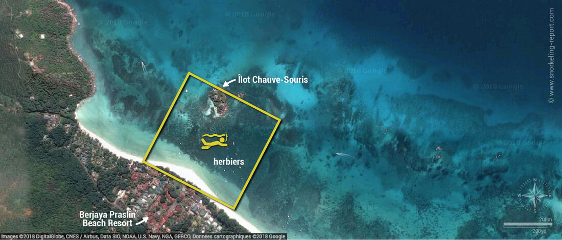Carte snorkeling à l'Anse Volbert, Praslin, Seychelles